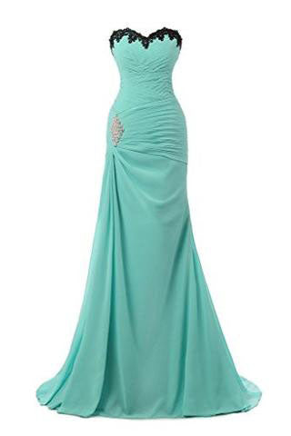 Chiffon Appliques Beaded Evening Dress Mermaid Long Prom Gowns PM539