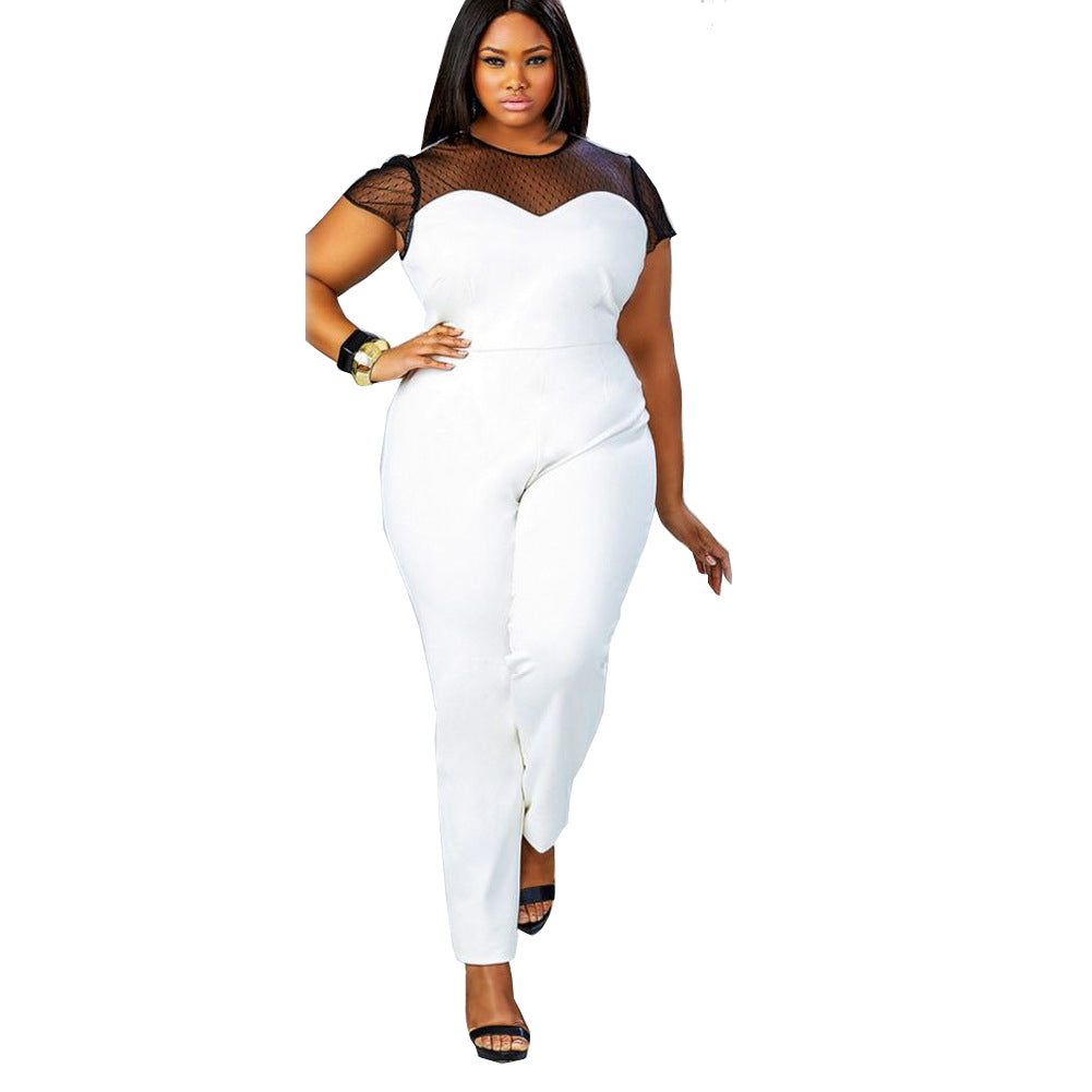 Unique Cap Sleeve Bateau Black Plus Size Jumpsuit FP3009