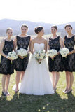 Simple Hot Scoop Open Back Lace Black Short Bridesmaid Dresses PM463