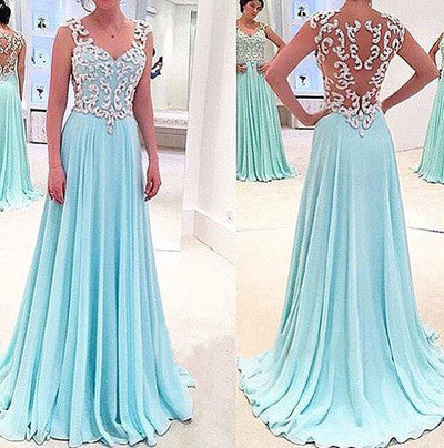 See Through Sexy Blue Sweetheart Sleeveless A-Line Chiffon Appliques Long Prom Dresses uk PM944