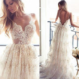 Lace A Line Sexy Spaghetti Straps Backless Beach Vintage Illusion Wedding Dresses UK PH349