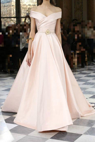 Elegant pink satins off-shoulder A-line long evening dress for prom