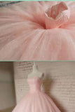 Pink Ball Gown Beading Long Charming Evening Dress,Formal Women Dress,Prom Dresses uk,F278