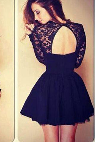Sexy Ball Gown High Neck Long Sleeves Lace Backless Black Short  Homecoming Dress PM994