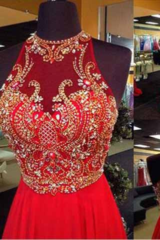 A-Line Halter Sleeveless Open Back Chiffon Red Beaded Long Rhinestone Prom Dresses uk PM947