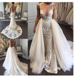 Luxurious Mermaid Lace Appliques Wedding Dresses, Ivory Beach Wedding Gowns W1173