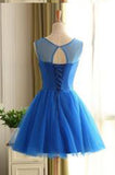 Royal Blue Short Beading Open Back Homecoming Dress PM431