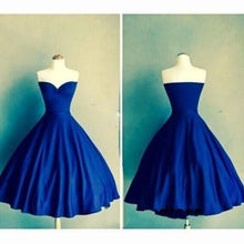 Royal Blue Sweetheart Vestidos Knee Length Backless Pleats Fashion Graduation Dress