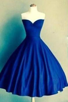 Royal Blue Sweetheart Vestidos Knee Length Backless Pleats Fashion Graduation Dress PM439