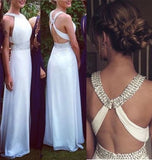 White Open Backs Simple Beaded A Line With Straps Glitter Backless Prom Dress For Teens PH118