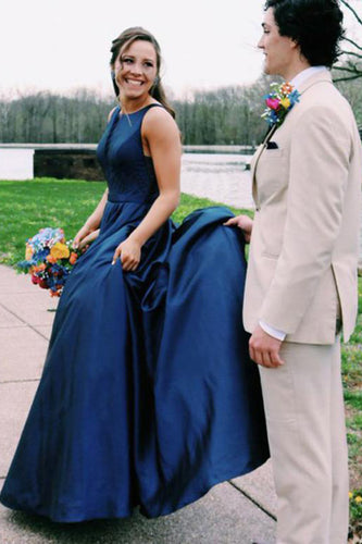 A Line Jewel Sleeveless Prom Dresses Long Cheap Navy Blue Satin Backless Evening Dresses PW483