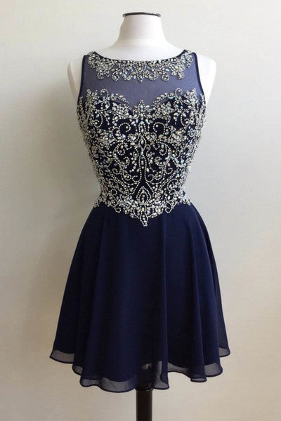 Dark blue chiffon beading round neck short handmade prom dress