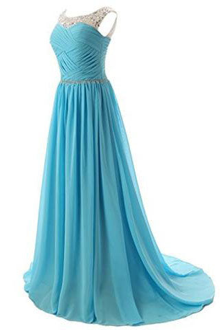 Beaded Straps Bridesmaid Prom Dress with Sparkling Embellished Waist