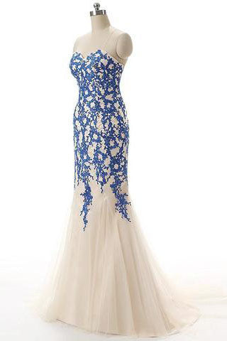 Strapless Tulle Mermaid Lace Dresses Long Prom Dress with Crystals PH223