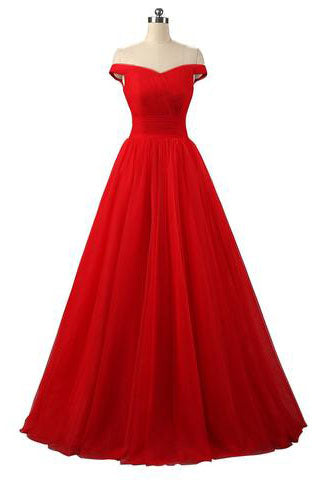 Elegant A-line Off Shoulder Red Lace-up Floor-Length Simple Prom Dresses uk PM772