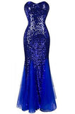 Sweetheart Mermaid Sequined Long Prom Dresses uk PH202