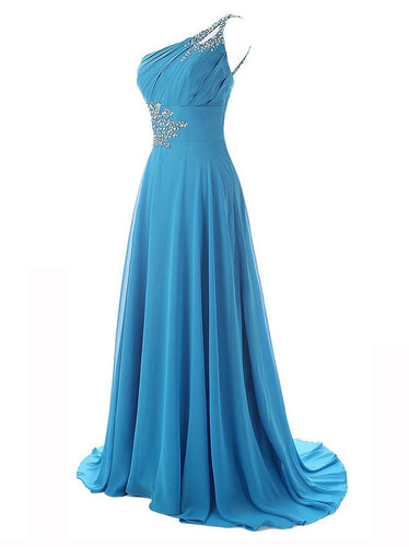 One Shoulder Beadings Chiffon Bridesmaid Long Prom Dresses