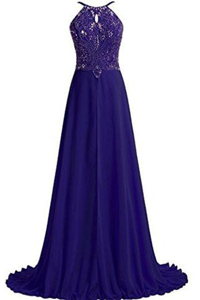 Prom Dresses Chiffon with Straps Beaded Bodice Evening Dress PH215