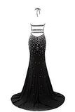 Luxury Crystal Prom Dress Halter Neck Mermaid Long Evening Party Gown PH199