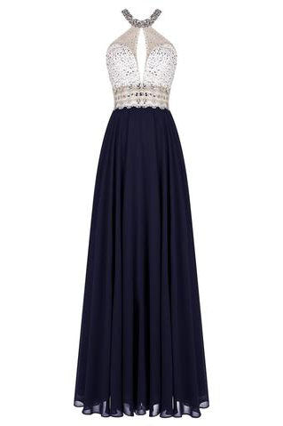 Gorgeous Long Halter Open Back Floor Length A-Line Chiffon Beading Prom Dresses uk PM137