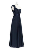 One Shoulder flowers Long Prom Dress with Flowers PH228