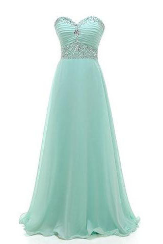 Gorgeous Sweetheart A-line Strapless Chiffon Crystal Floor-Length Long Prom Dresses uk PM543