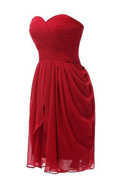 Strapless Chiffon Short Bridesmaid Dresses Prom Gowns PH234