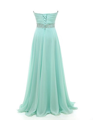 Gorgeous Classy Sweetheart A-line Strapless Chiffon Crystal Floor-Length Long Party Dresses