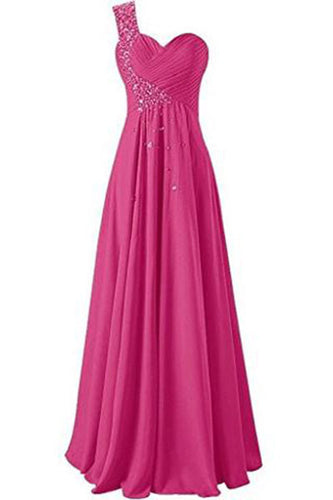 One Shoulder Long Bridesmaid Prom Dresses Chiffon Evening Gowns PH211