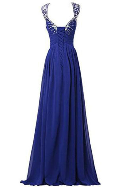 V-neck Prom Gowns Party Dresses Chiffon Long Evening Dresses uk PH205