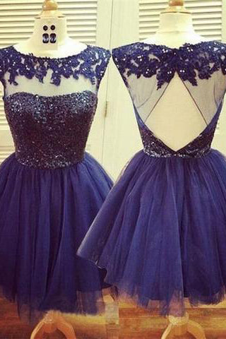 Homecoming Dress,Navy Blue Homecoming Dress,Short Prom Dress,Prom Gown PM438