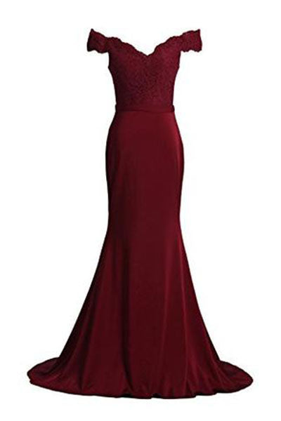 Prom Dresses Spandex Off The Shoulder Long Evening Dress PH226