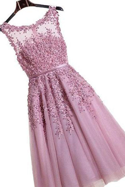 Floral Lace Applique Sheer Sweetheart Illusion Short A-Line Tulle Homecoming Dresses PH228