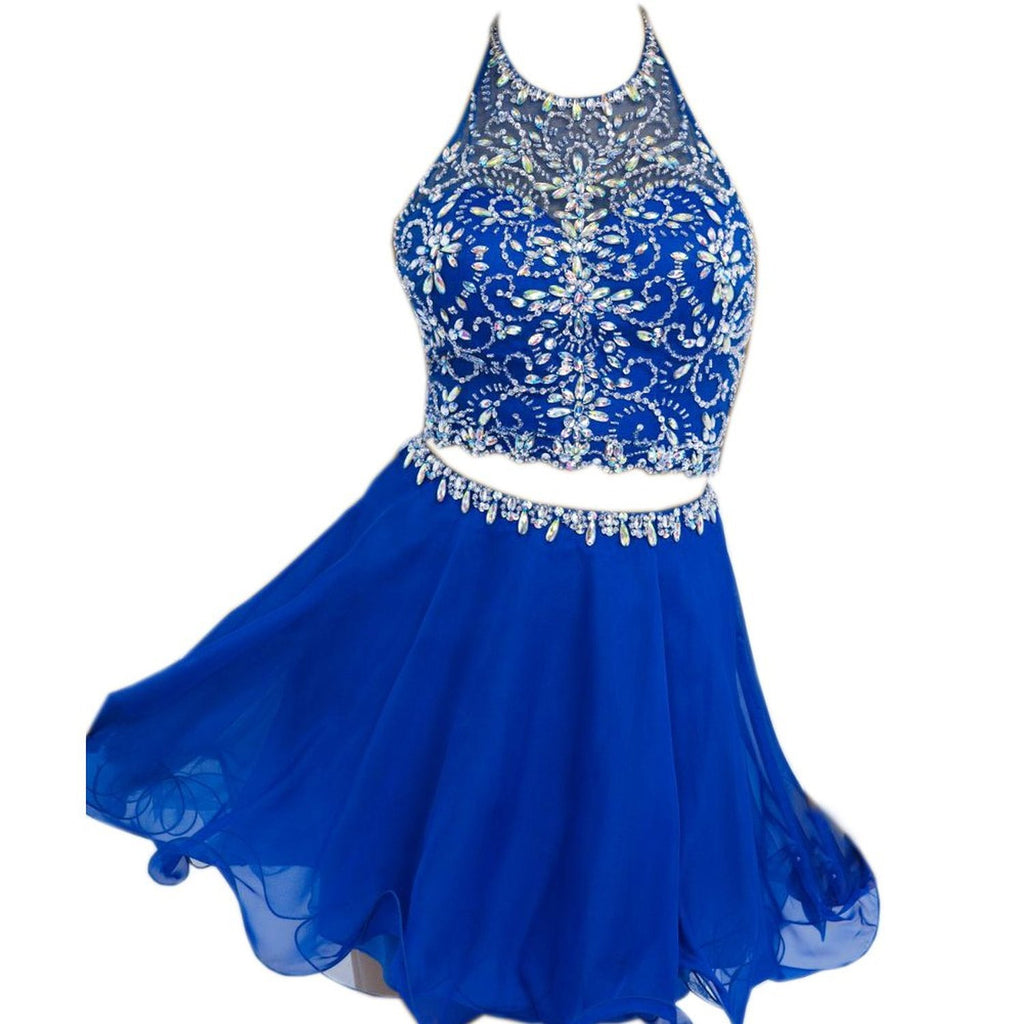 Elegant Halter Chiffon Blue Backless Cute Sexy Short Beaded Two Pieces Homecoming Dresses