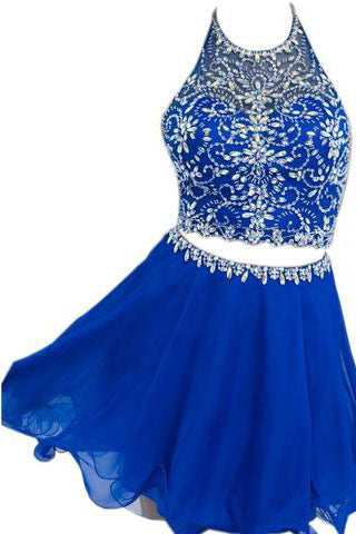 Elegant Halter Chiffon Blue Backless Sexy Short Beaded Two Pieces Homecoming Dresses PM773