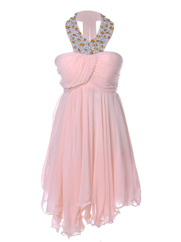 Sweetheart Pretty Short Halter Jewel Bead Prom Dresses,Uneven Hem Party Dresses PM762