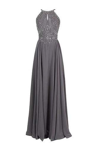 Sparkling Straps Formal Gowns Beading Evening Dresses Backless Prom