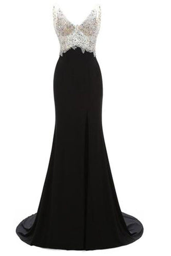 V-Neck Crystal Beaded Mermaid Black Long Prom Dress Slit Side PH229