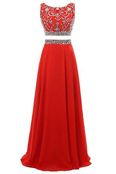 Long Prom Dress 2017 Two Pieces Maxi Chiffon Evening Gowns with Beads PH197