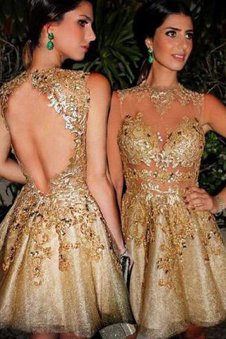Gorgeous A-line Scoop Gold Short Homecoming Dress with Open Back PM435