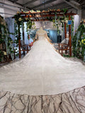 Round Neck Half Sleeve Ball Gown Quinceanera Dresses, Beads Ivory Wedding Dresses P1091