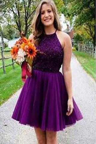 Purple Short Halter Neck Backless Beads Tulle Juniors Mini Sweet 16 Homecoming Dress PM433