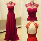 Long Prom Dresses,Open Backs Formal Dresses,A-line Wine Red Prom Dress