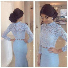 Baby Blue Lace Two Pieces Mermaid Long Sleeve Sexy Prom Dress,Dresses for Prom uk ,PD190446