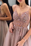 Gorgeous A-Line Spaghetti Straps V Neck Blush Tulle Prom Dresses, Cheap Evening Dresses P1213