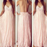 Sexy Backless V-Neck Spaghetti Straps Lace Prom Dresses Chiffon Blush Pink Prom Dresses uk PM799