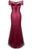 Halter Bateau Beaded Tulle Mermaid Sheath Prom Dresses PH200