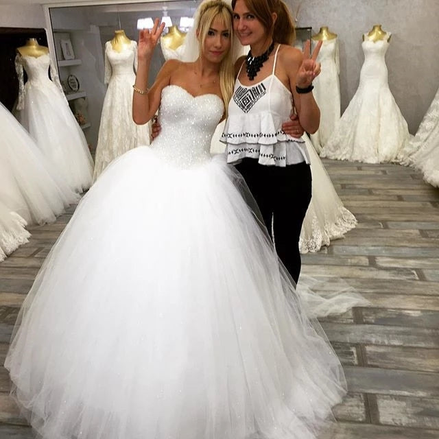 Sparkly Ball Gown Tulle Strapless Ivory Wedding Dresses, Long Bridal Dresses W1155