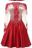 A Line Long Sleeves With Applique Knee-Length High Neck Homecoming Dresses PM326