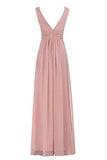 Sexy V-Neck Ruched Waist Long Prom Evening Gown Bridesmaid Dress PH233